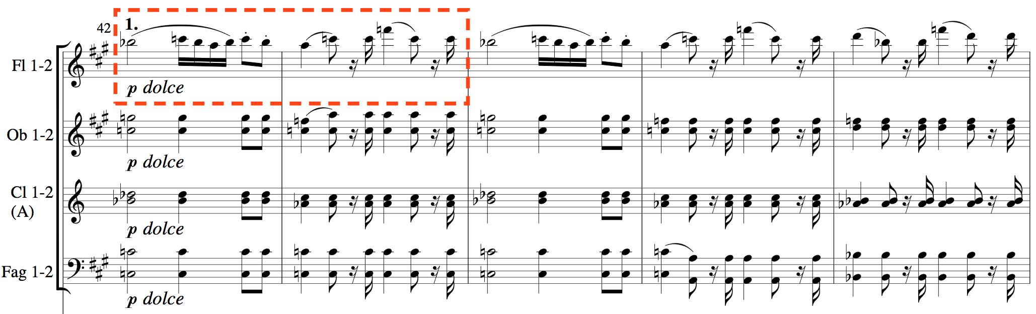 〖第42小節 2:51〗F大調,同樣的甜美主題移到F大調,由長笛演出