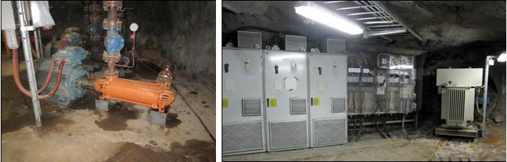 Fotografierna nedan visar pumpstation på 400 metersnivån med tillhörande ställverk.