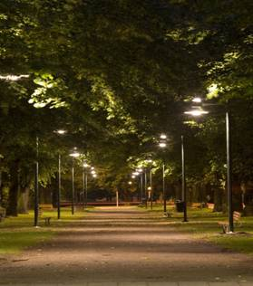 Samma park efter byte till keramiska metallhalogenlampor