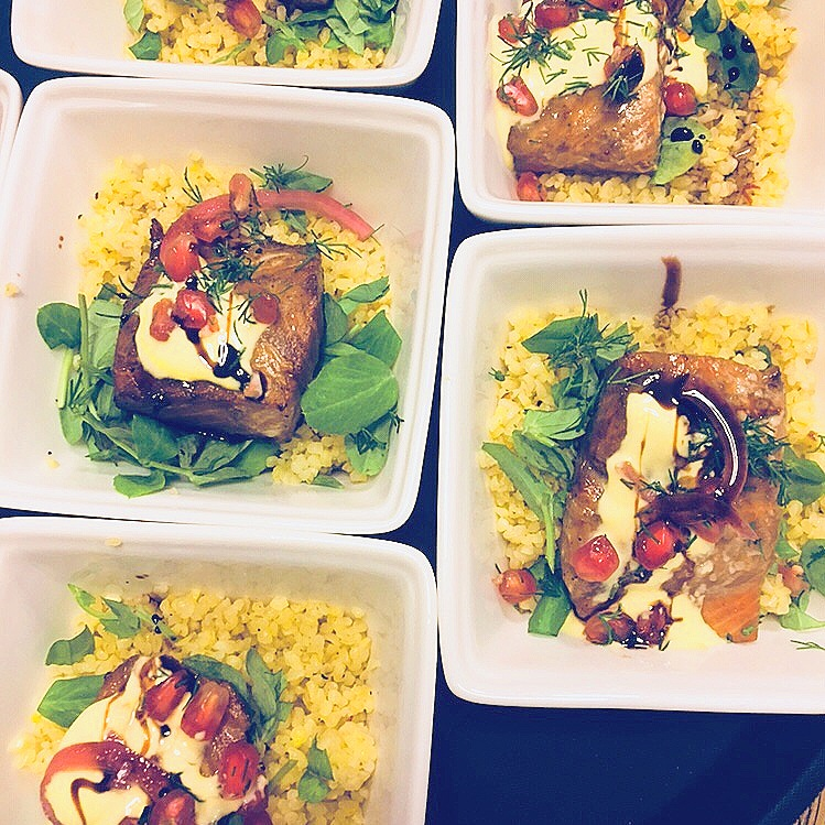 Pomegranate marinated rainbow trout with couscous, saffron yoghurt, pomegranate and sweet pickled red onion. topped with dukkah. This was for a Middle Eastern inspired private party.