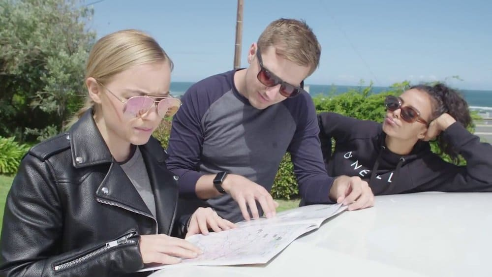 People reading a map