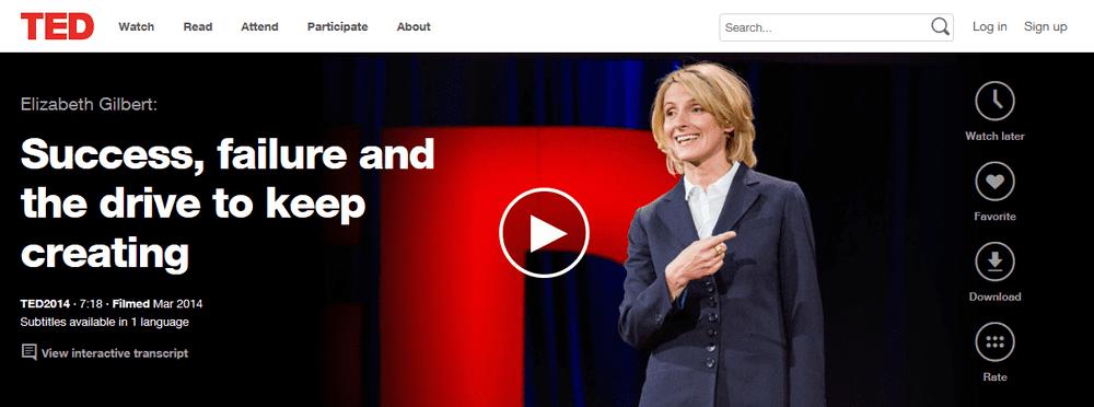 Elizabeth Gilbert in the TED talk