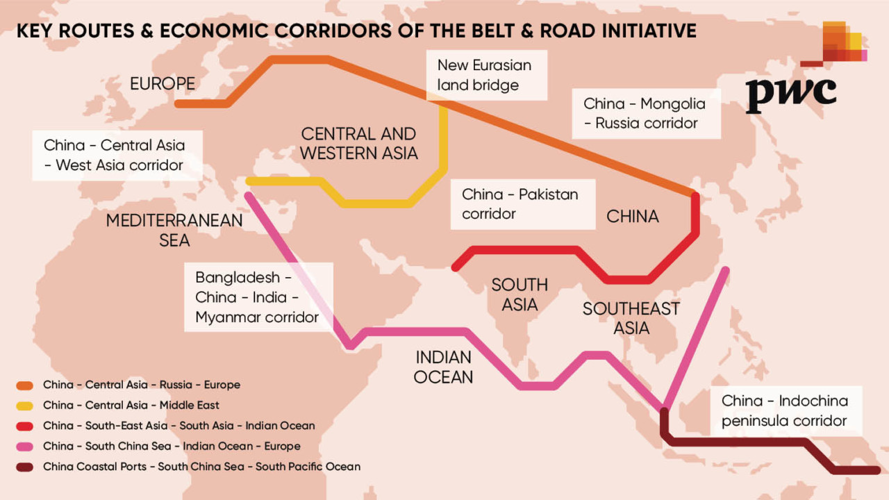 The ambition of the BRI is set to change the course of global trade [ image source PWC )