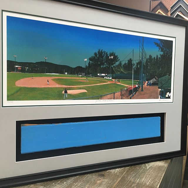 """""""Jubilee; Field of Dreams"""" by Dion Parsons. I framed this great print and included a piece of the old Jubilee Clubhouse. Nice project! #cornerbrook #minorleaguebaseball #newfoundlandart #custompictureframing #pictureitinaframe"""
