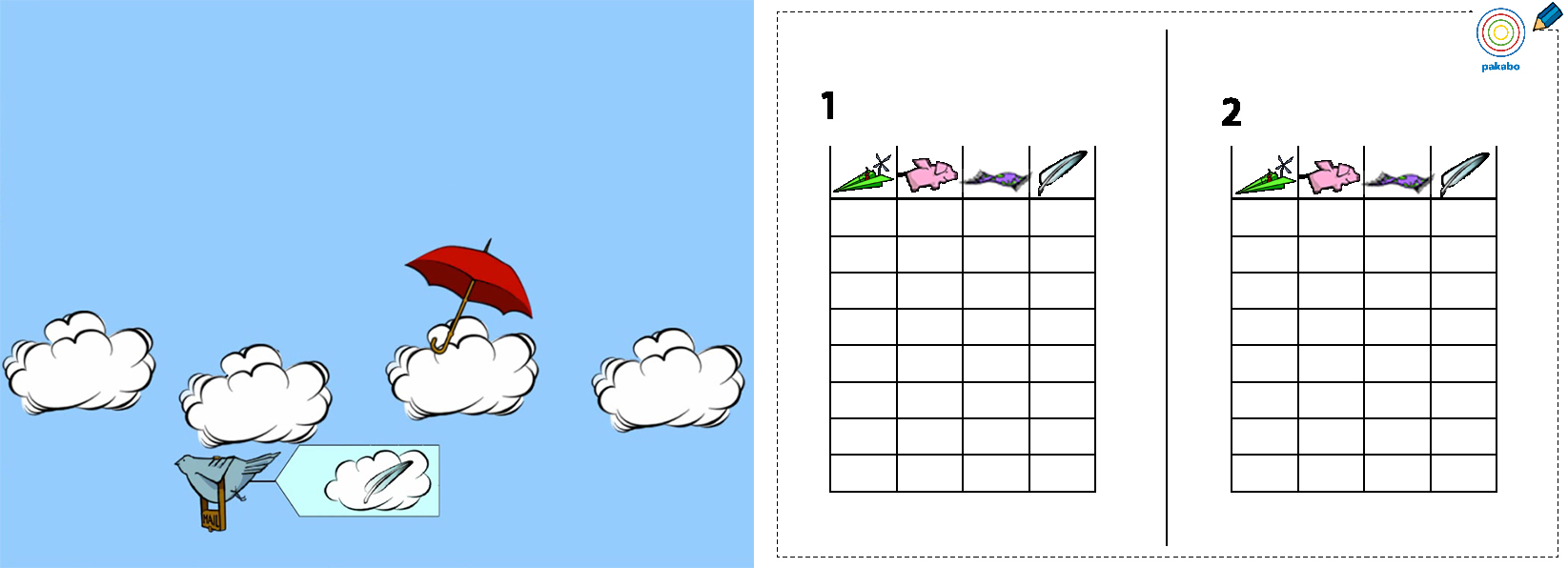 For memory game a sheet with all 4 objects were created.