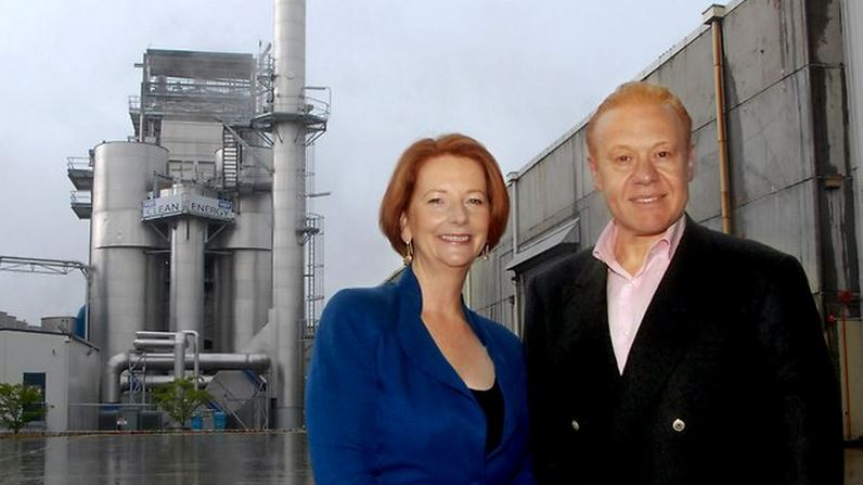 Julia Gillard, former Prime Minister of Australia, and Anthony Pratt at the official opening of the clean energy plant at Coolaroo, Victoria