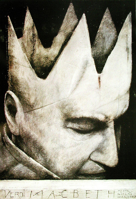 Wiktor Sadowski 's theater poster for a 1985 Polish production of  Verdi's  MacBeth  .