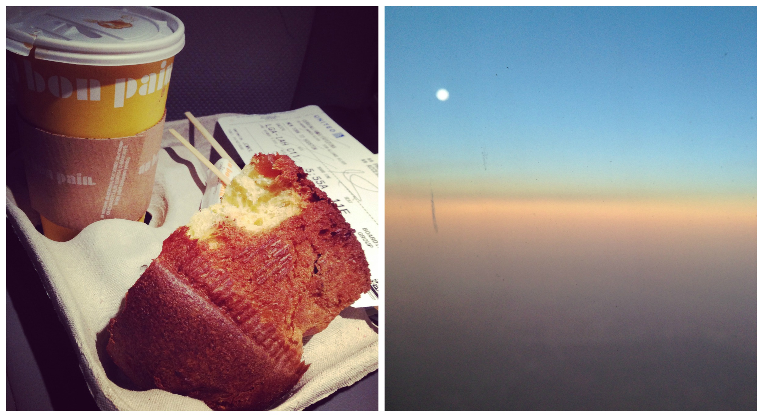 Chocolate and pear panettone (excuse the bite, the birthday girl was hungry), and sunrise from the plane.
