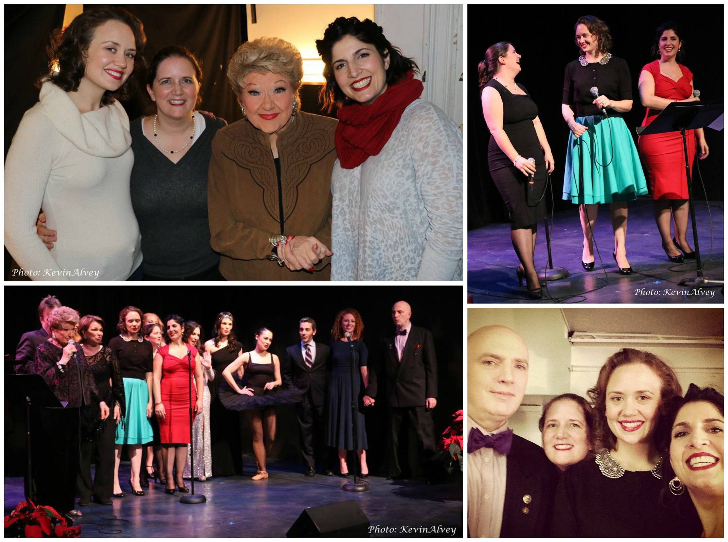 "Clockwise from top: DUCHESS with Marilyn Maye; DUCHESS performing ""Skip to My Lou""; a selfie with producer/emcee Will Friedwald; the finale: a sing-along of ""Have Yourself a Merry Little Christmas""  (all photos except our selfie courtesy of Kevin Alvey)"