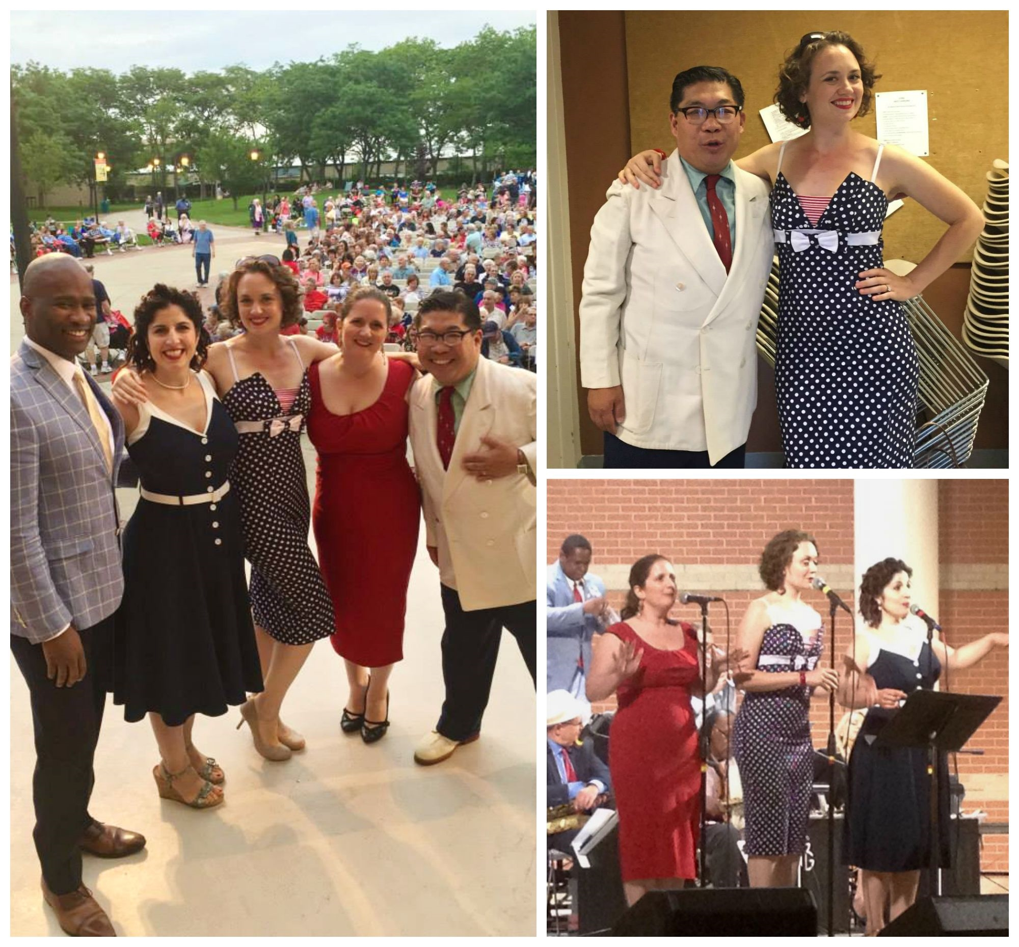 "Left: DUCHESS, flanked by the dapper and swinging vocalist & lindy hopper John Dokes and bandleader George Gee. Top right: Hilary and George strike a pose.  Bottom right: DUCHESS swinging their version of ""Boogie Woogie Bugle Boy."""