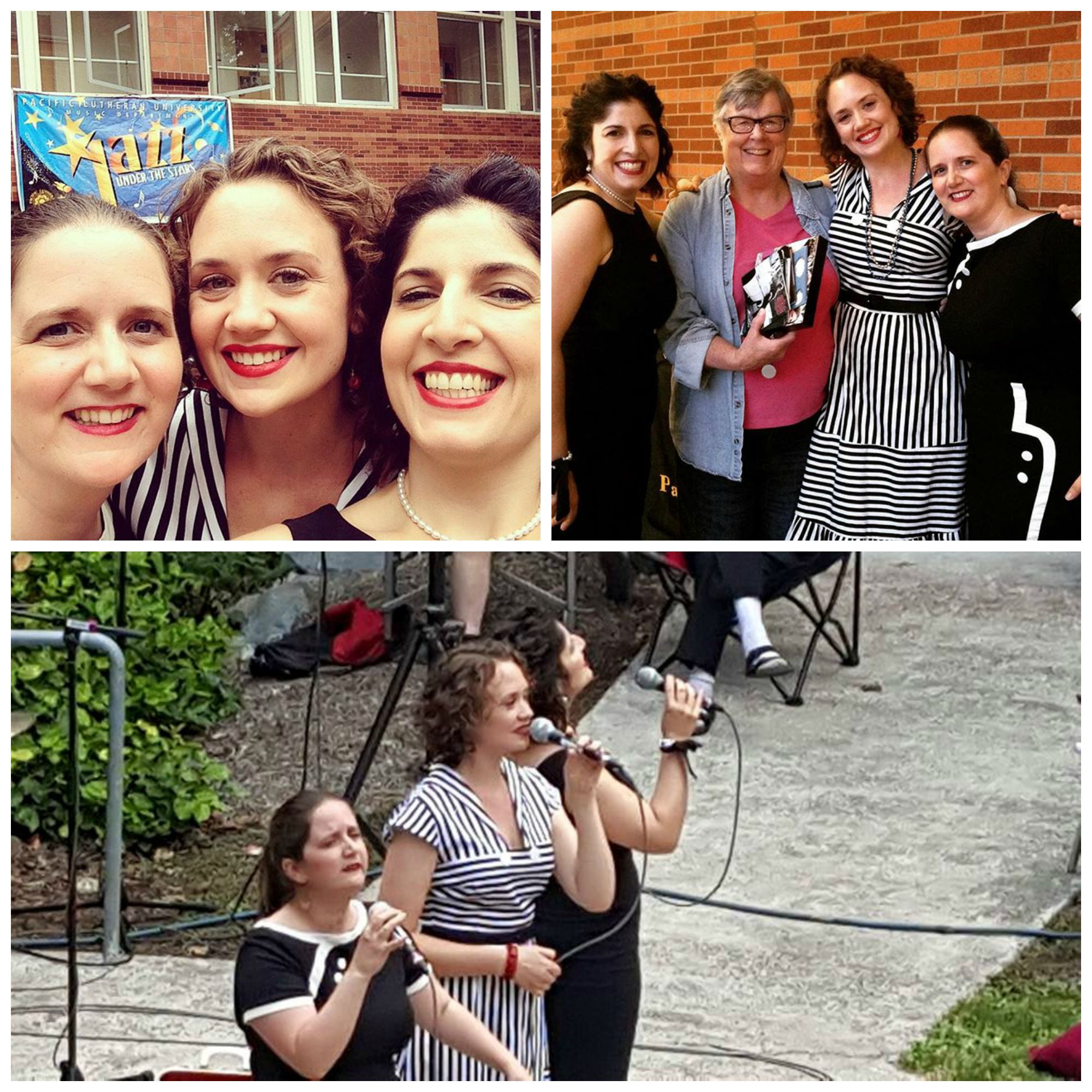 "Some moments from our gig at PLU's ""Jazz Under the Stars.""  Top left: the traditional DUCHESS pre-gig selfie.  Top right: DUCHESS with our dear friend, Mira Frohnmayer, whose generosity made the tour possible.  Bottom: Mid-song in the beautiful outdoor amphitheater."
