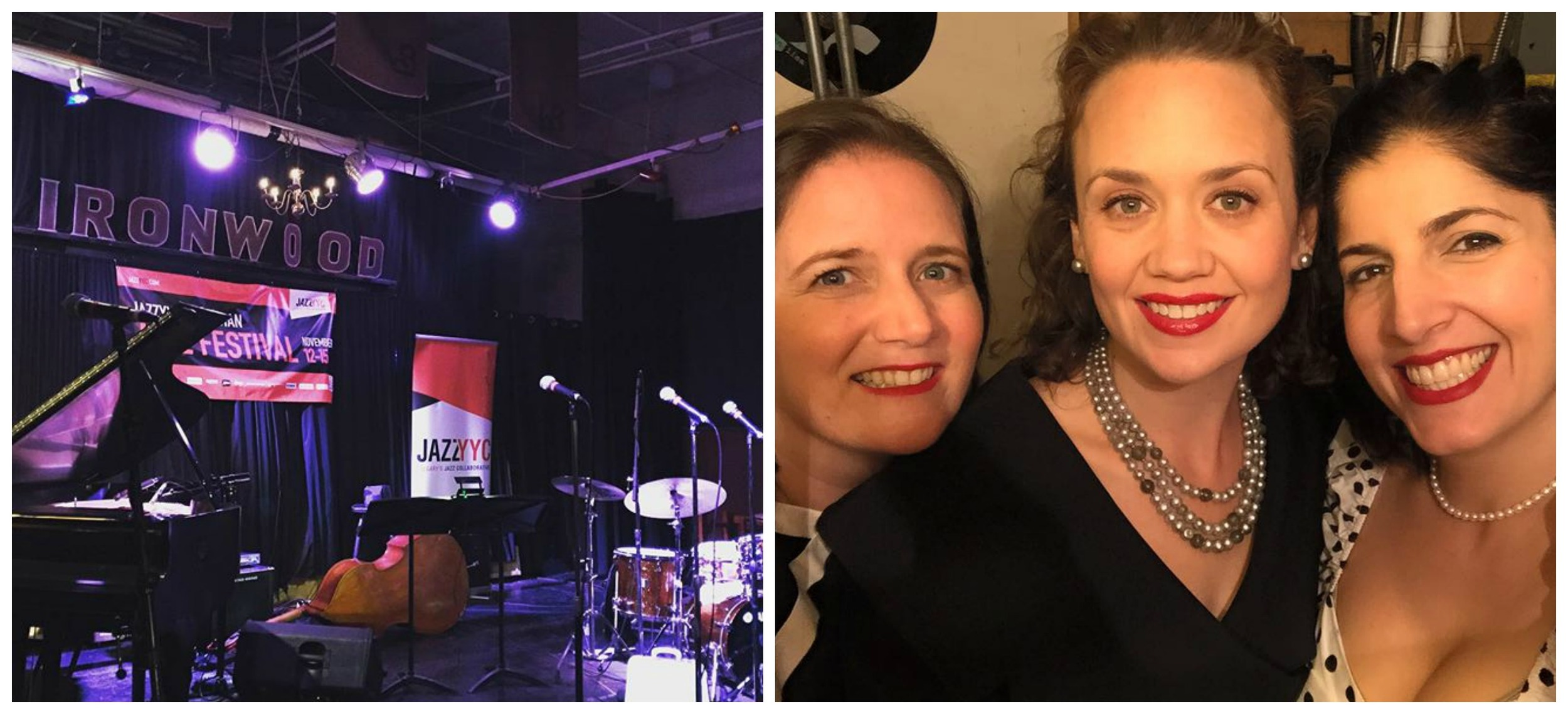 L: the Ironwood Stage in Calgary, Alberta. R: backstage, pre-show.