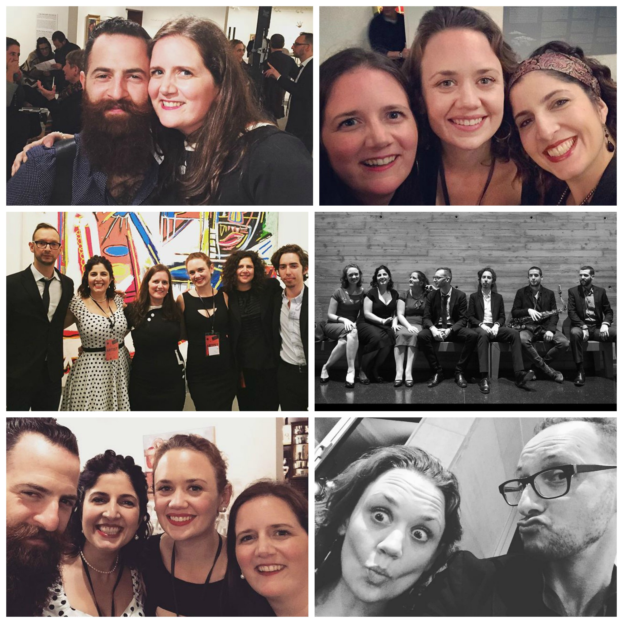 Post-performance photos at the Israel Museum.  Top row: Amy and Avishai (L); the gals of DUCHESS, post-ukulele pop-up concert (R).  Middle row: post-acoustic set in the modern art gallery with bassist Barak Mori, clarinetist Anat Cohen, and pianist Gadi Lehavi (L); the full band, pre-show, photo by Yossi Zwecker (R).  Bottom row: DUCHESS with Avishai (L); Hilary clowning around with Barak (R).