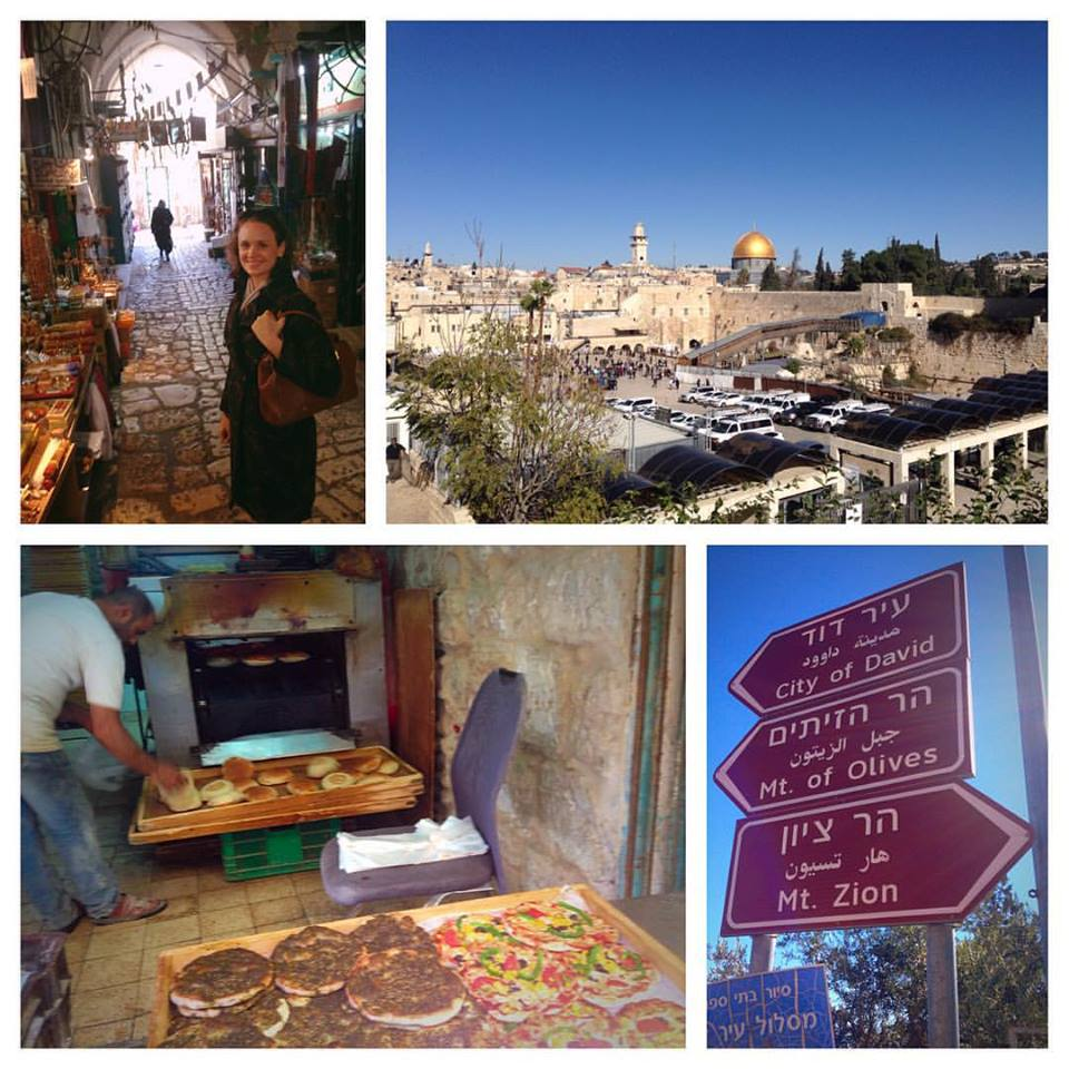 Clockwise, from top left: a  souk  in the Old City; the Western Wall; road signs to ancient places; a bread oven that smelled like heaven.