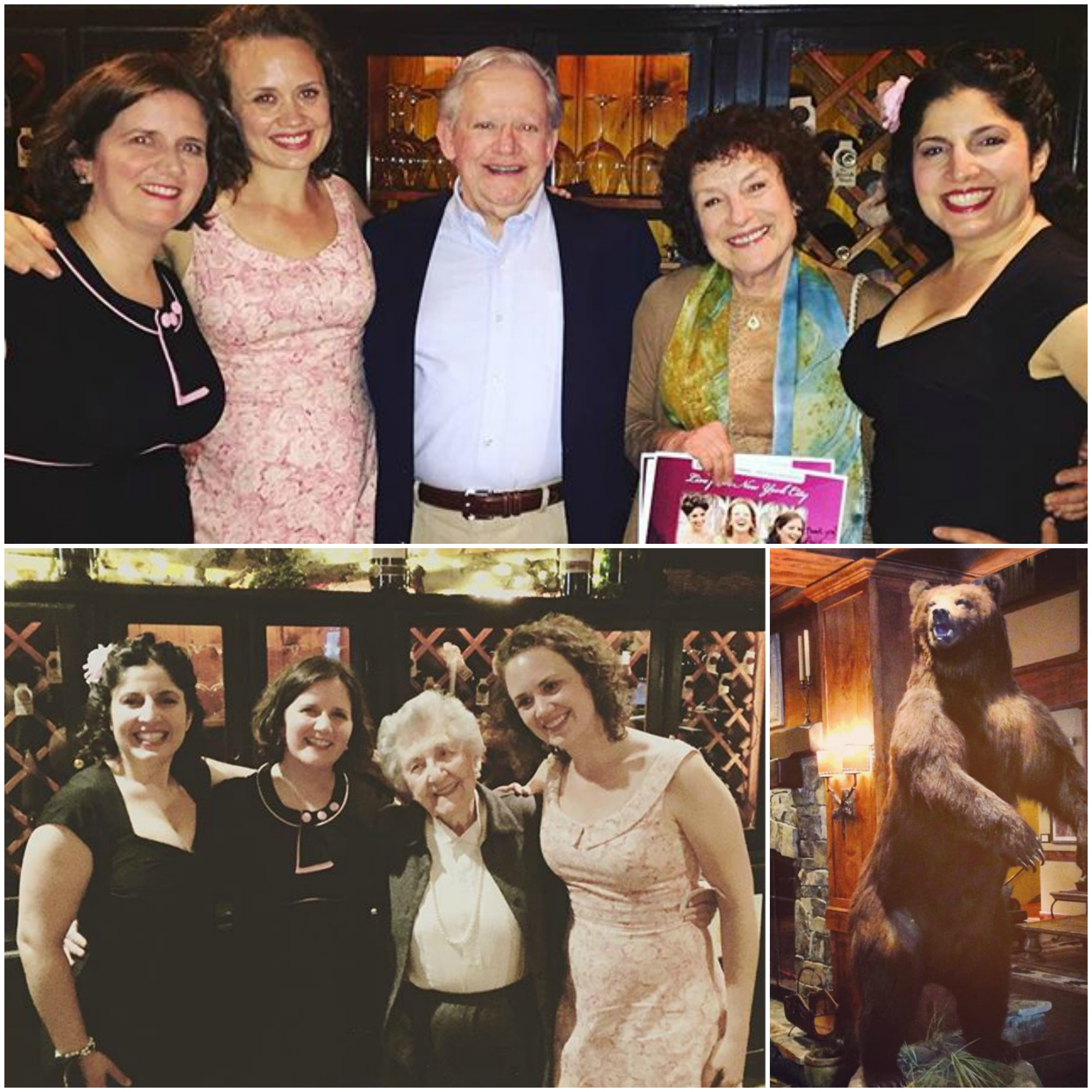Top: DUCHESS with John Simpson & Miriam Singer, who brought us out to Montana. Bottom left: DUCHESS with Ann Clark Terry, of the Clark Sisters, a.k.a. the Sentimentalists. Bottom right: Our ursine friend in the hotel lobby bidding us adieu.