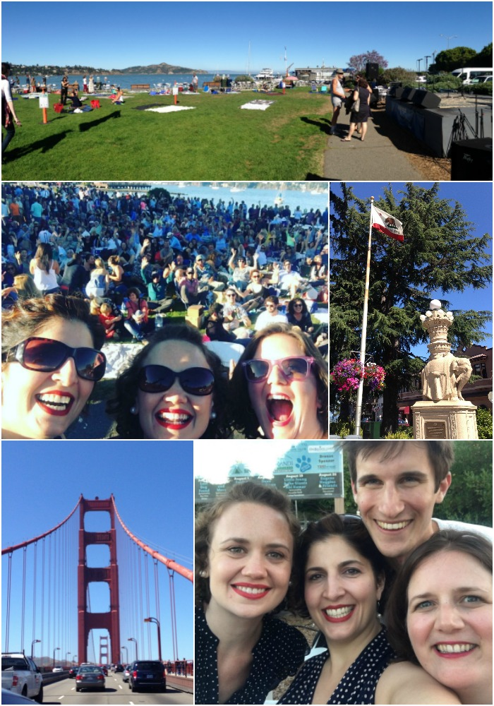 Sausalito moments (clockwise from top)...a gorgeous bandstand; the California flag flying high over a fountain in the center of town; the gals with our hero Nathan (he brought us a keyboard to use in our show!); the iconic Golden Gate Bridge; our rock star selfie in front of the huge crowd!