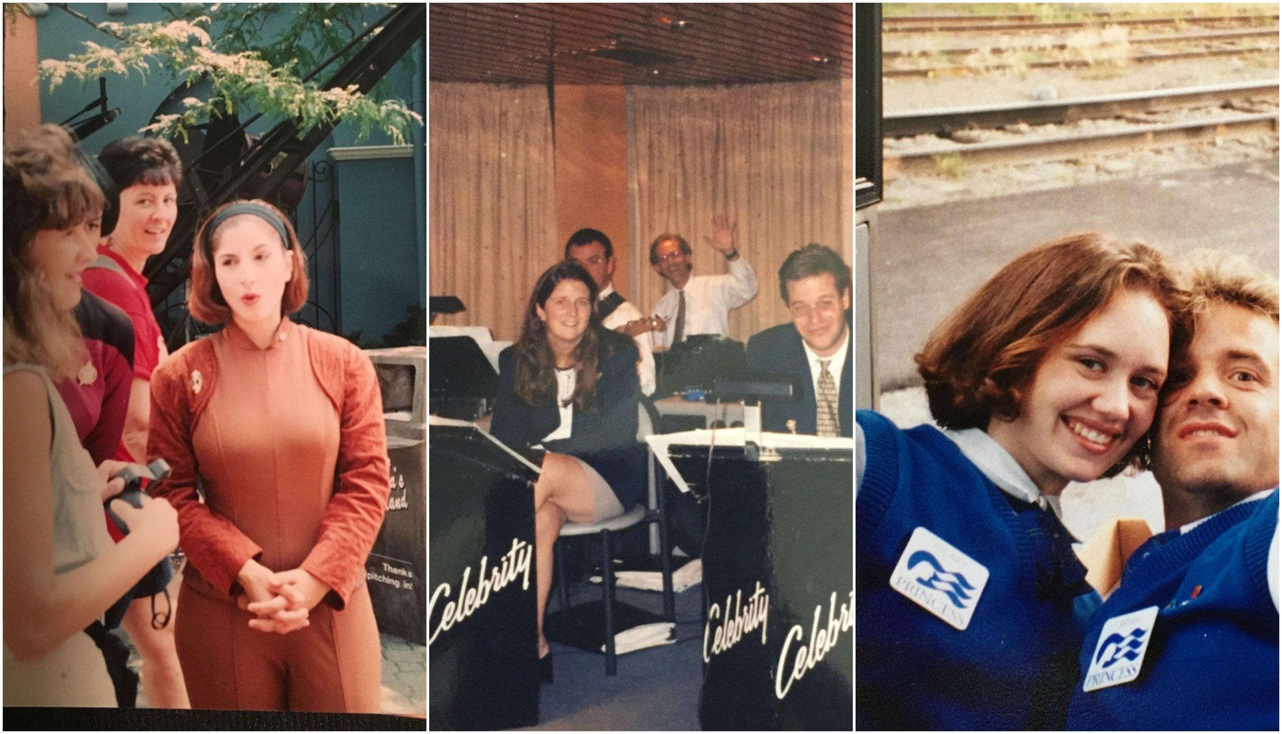 L to R: Melissa, in character at Canada's Wonderland; Amy on the bandstand of the Love Boat; Hilary, decked out in full powerless-18-year-old-customer-service-representative regalia.