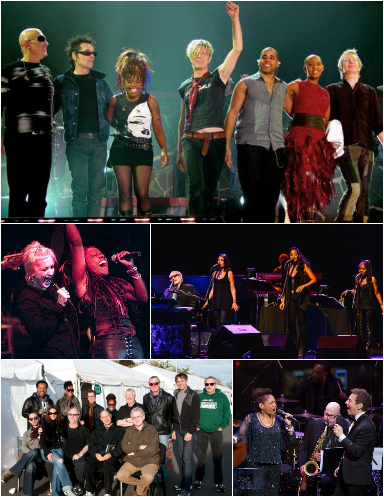 Clockwise from top: Catherine taking a curtain call with David Bowie; backing up Donald Fagan with her harmonious cohorts Carolyn Leonhart and LaTanya Hall; swinging in style with Michael Feinstein; on the road with Steely Dan; rocking out with Cyndi Lauper.