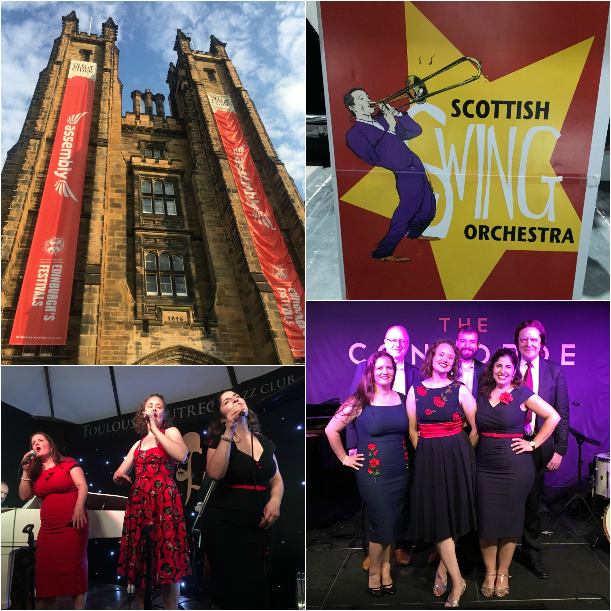 Clockwise, from top left: Assembly Hall in Edinburgh; Dave Batchelor's Scottish Swing Orchestra; all smiles at the Concorde Club with our band; our final show at Toulouse Lautrec in London.