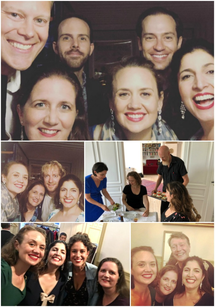 Top: post-show in Copenhagen with our band. Middle two photos: Duchess with Mads Mathias; a Danish lunch  chez  Per and Lu. Bottom two photos: Duchess with vocalist Irini Arabatzi; Duchess with Dave Batchelor, celebrating the Queens of Swing in Edinburgh.