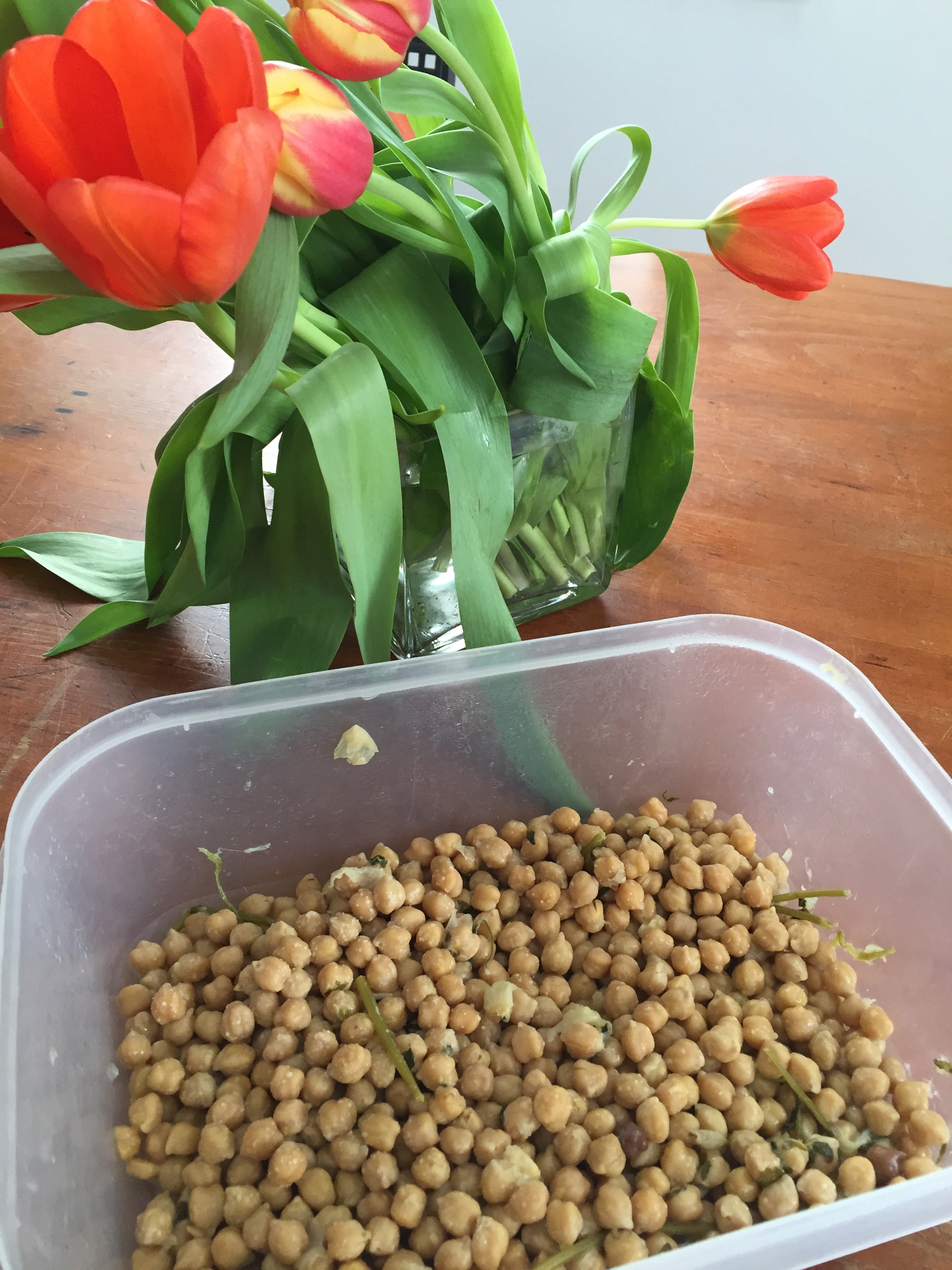 The chickpeas in the fridge smell awful. I decide that it is not something that needs to stay in the fridge. As I pass the tulips on the way to the compost I put down the chickpeas and smell them both. I prefer the smell of the tulips. But after spending quite some time with this, it does not seem to make a difference - though perhaps I have just grown accustom to the sour smell of the chickpeas.