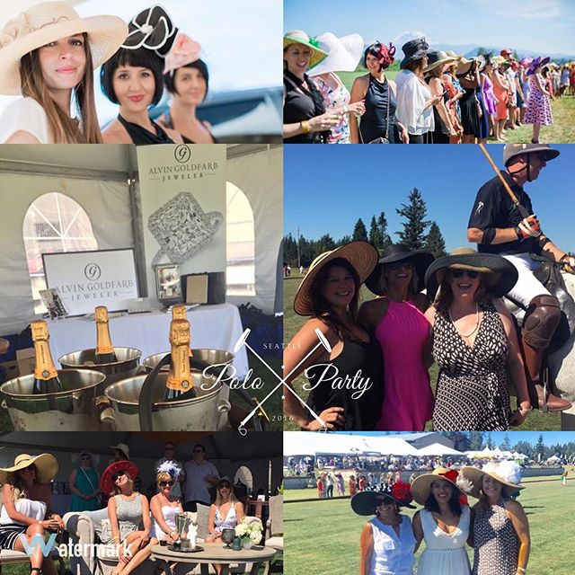 There were a number of beautiful hats worn during our Derby Hat Parade at this years #SeattlePoloParty. Alvin Goldfarb Jewelers (@ag_jeweler) of Bellevue, WA furnished the prizes for the category winners.  #SeattlePoloParty #SeattlePolo #PoloParty
