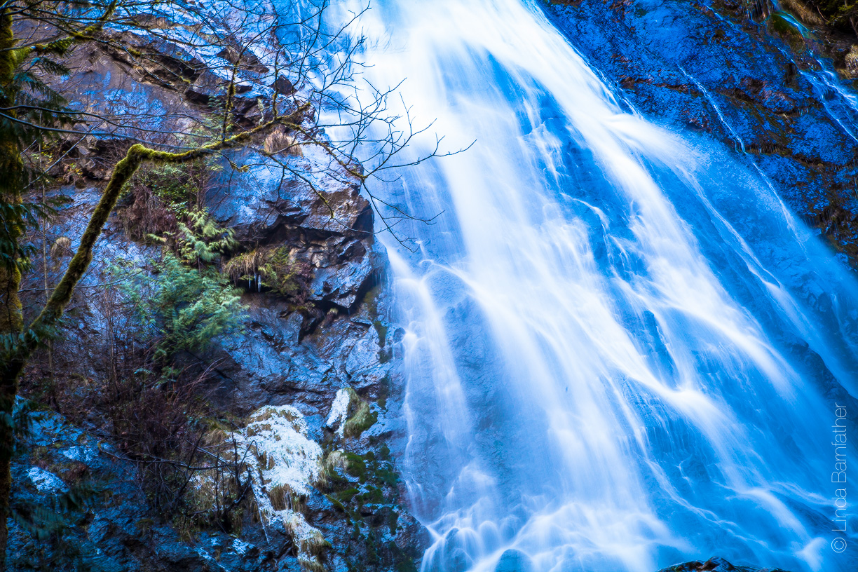 Rocky Brook Falls in Brinnon, WA on an icy morning in December.