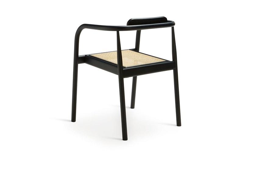 Dark blue and cane seat -
