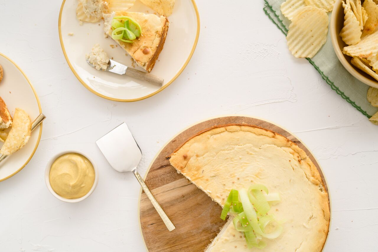 Mustard & Leek Savory Cheesecake.  Recipe courtesy of spreadthemustard.org