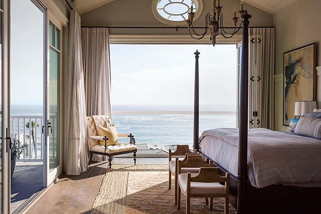 Master bed with a view, shot in Dana Point for @browndesigngroup