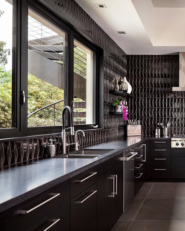Modern and bold Montecito kitchen, recently photographed for @lotuscabinetry
