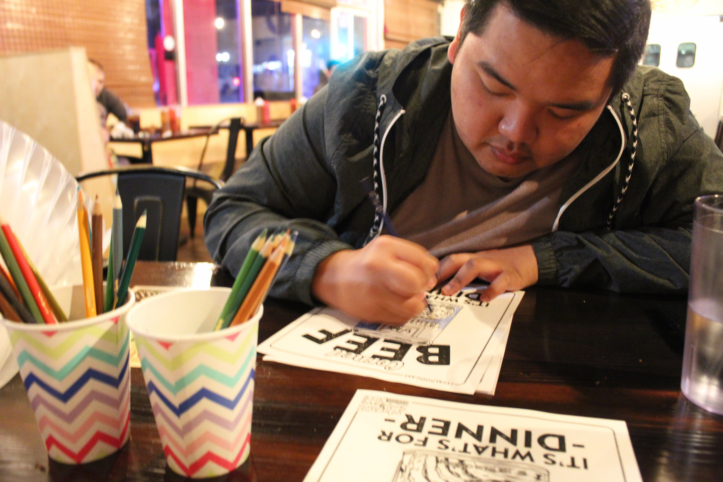 Ivan Ortuoste coloring his troubles away at the event.