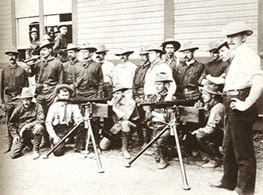A photo taken in San Antonio of the Rough Riders training with the same type of Colt Machine gun used as a reward for Jack Howard's Murderer.