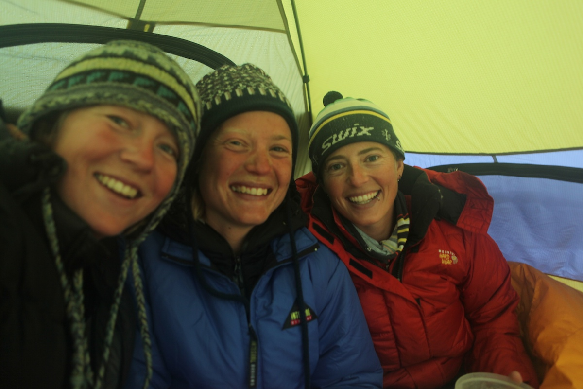 Kate, Rebecca, and Ali, tent-bound selfie on the way up Pinnacle Peak in 2010.