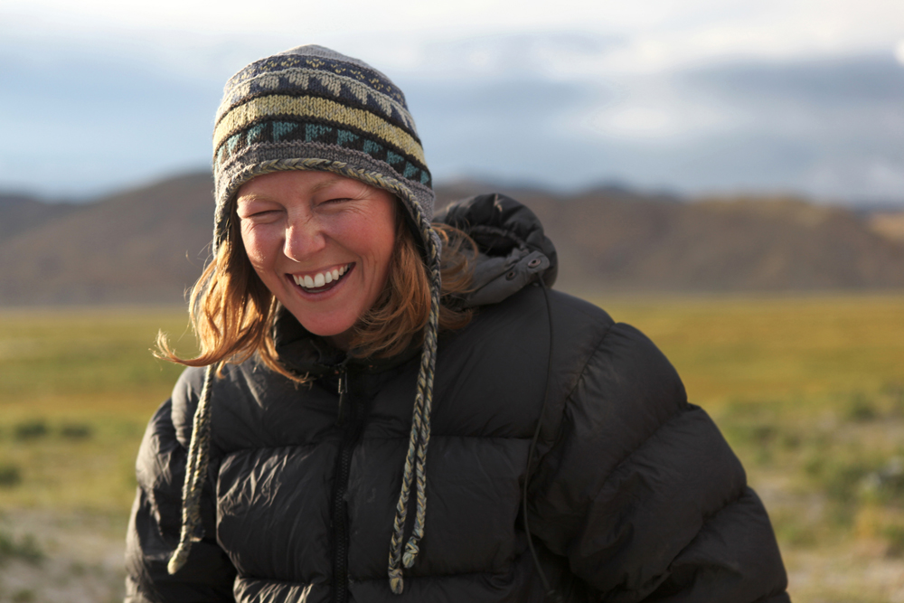 Kate Harris on the Tibetan Plateau.