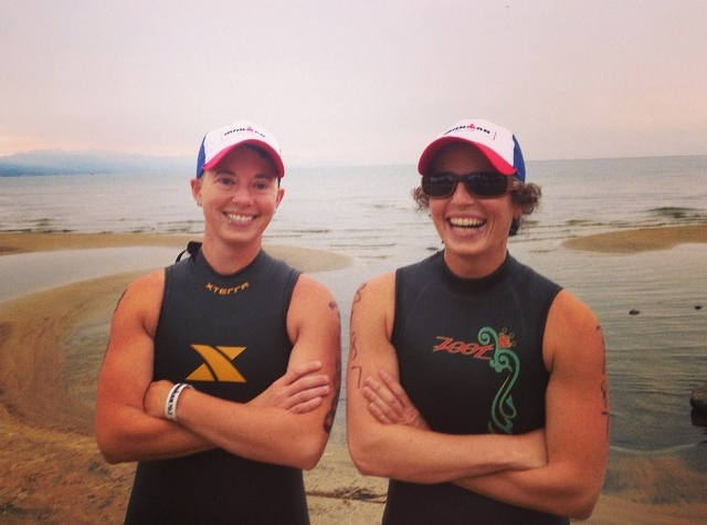 Ra with her twin sister Ali, pre-Ironman at Lake Tahoe.