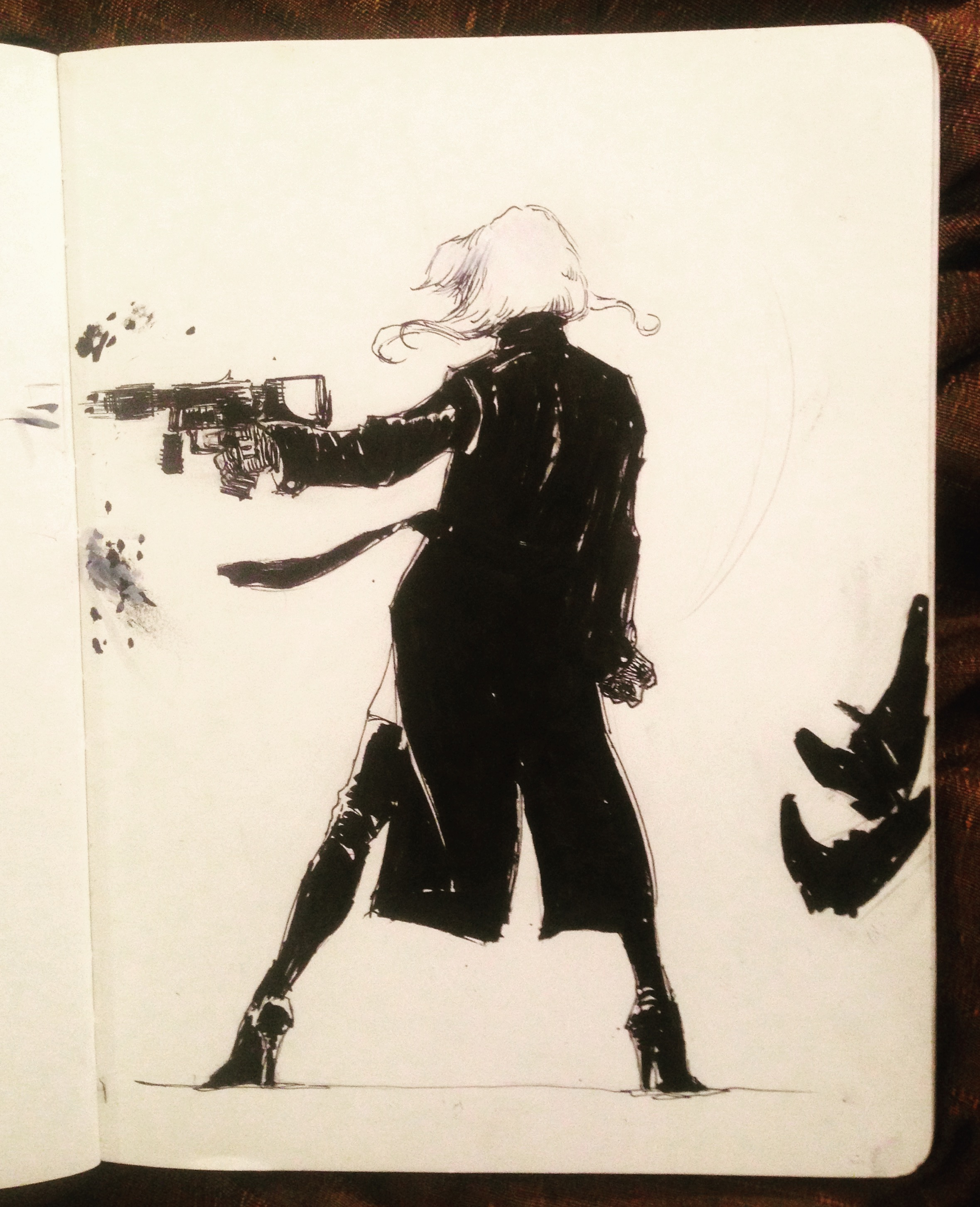 Inspired by Atomic Blonde. An ink sketch.
