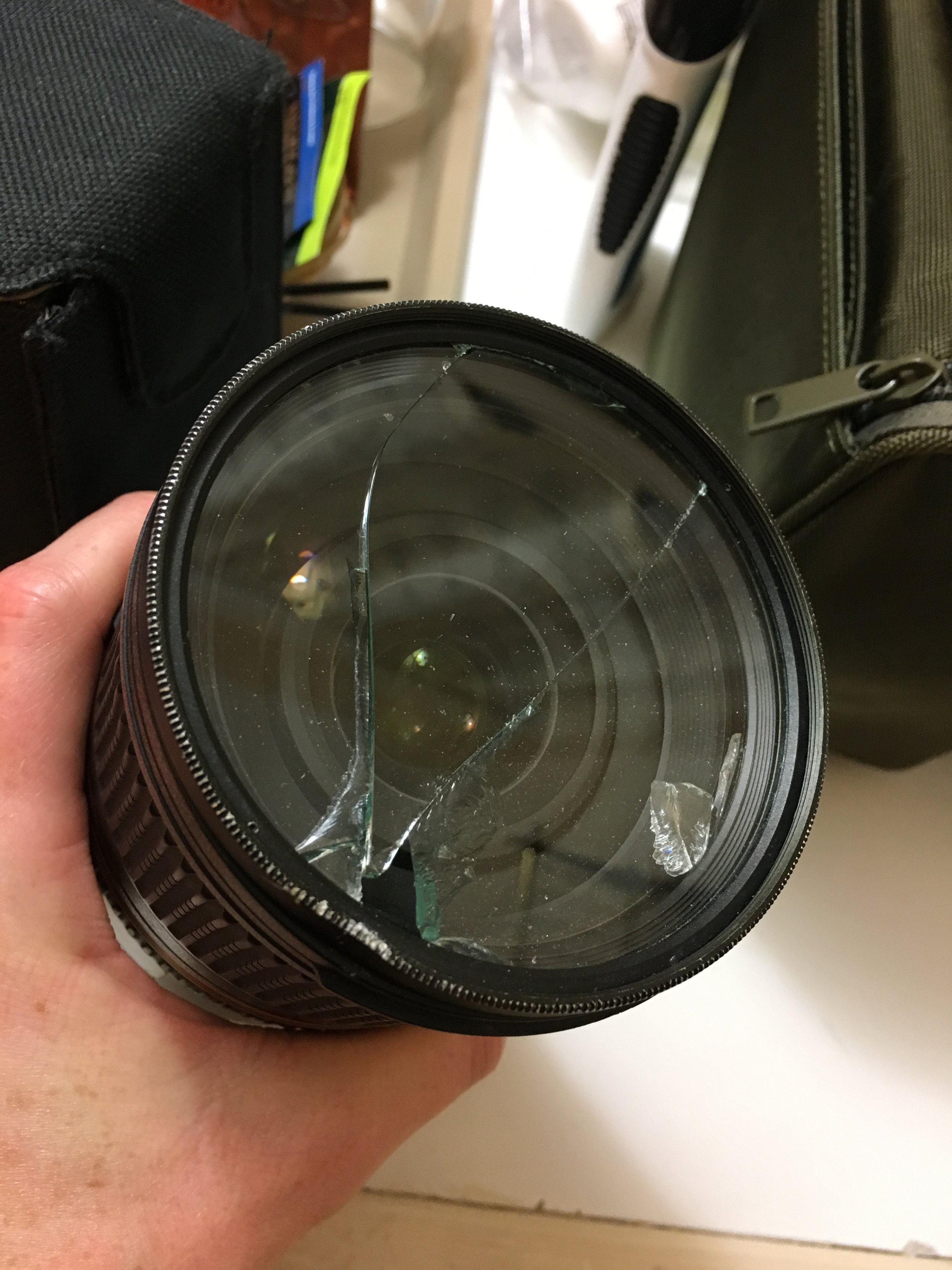 Slipped on a rock and landed right on my lens, shattering the glass. More proof that these things happen to all of us...