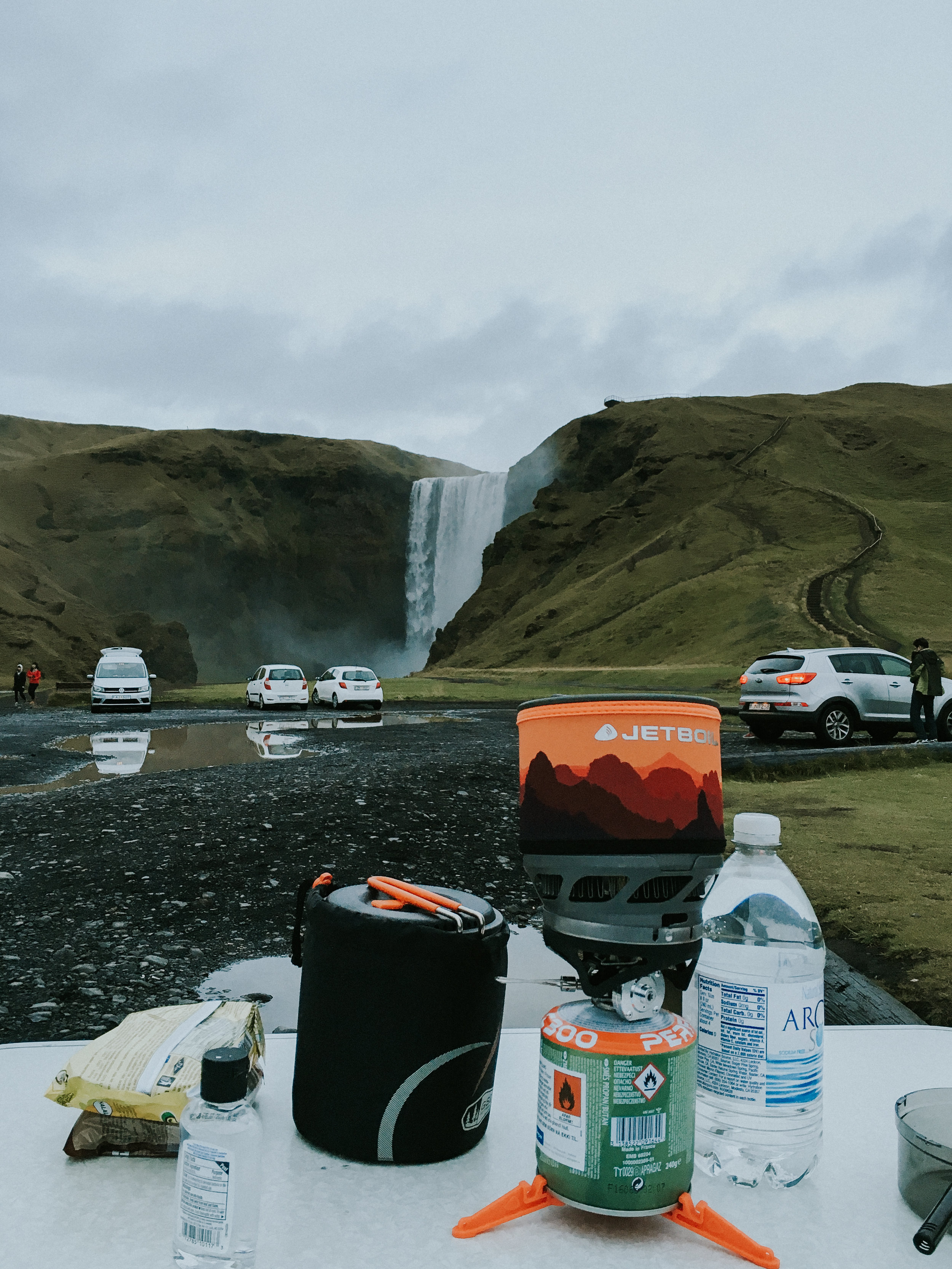Setting up to make dinner at the Skogar Campsite. Perfect view, if I may say so myself!