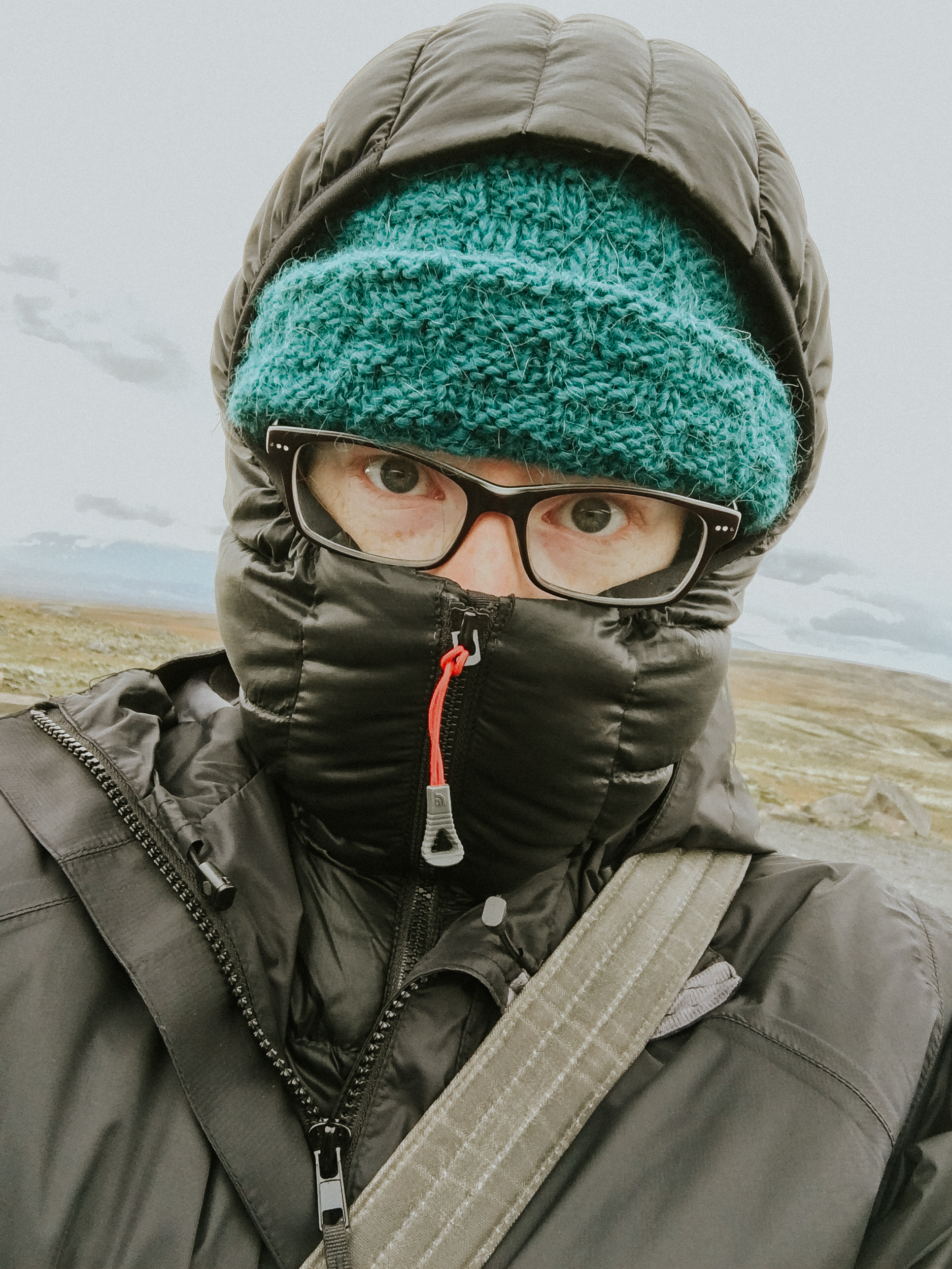 A selfie of me all zipped up in my down jacket!