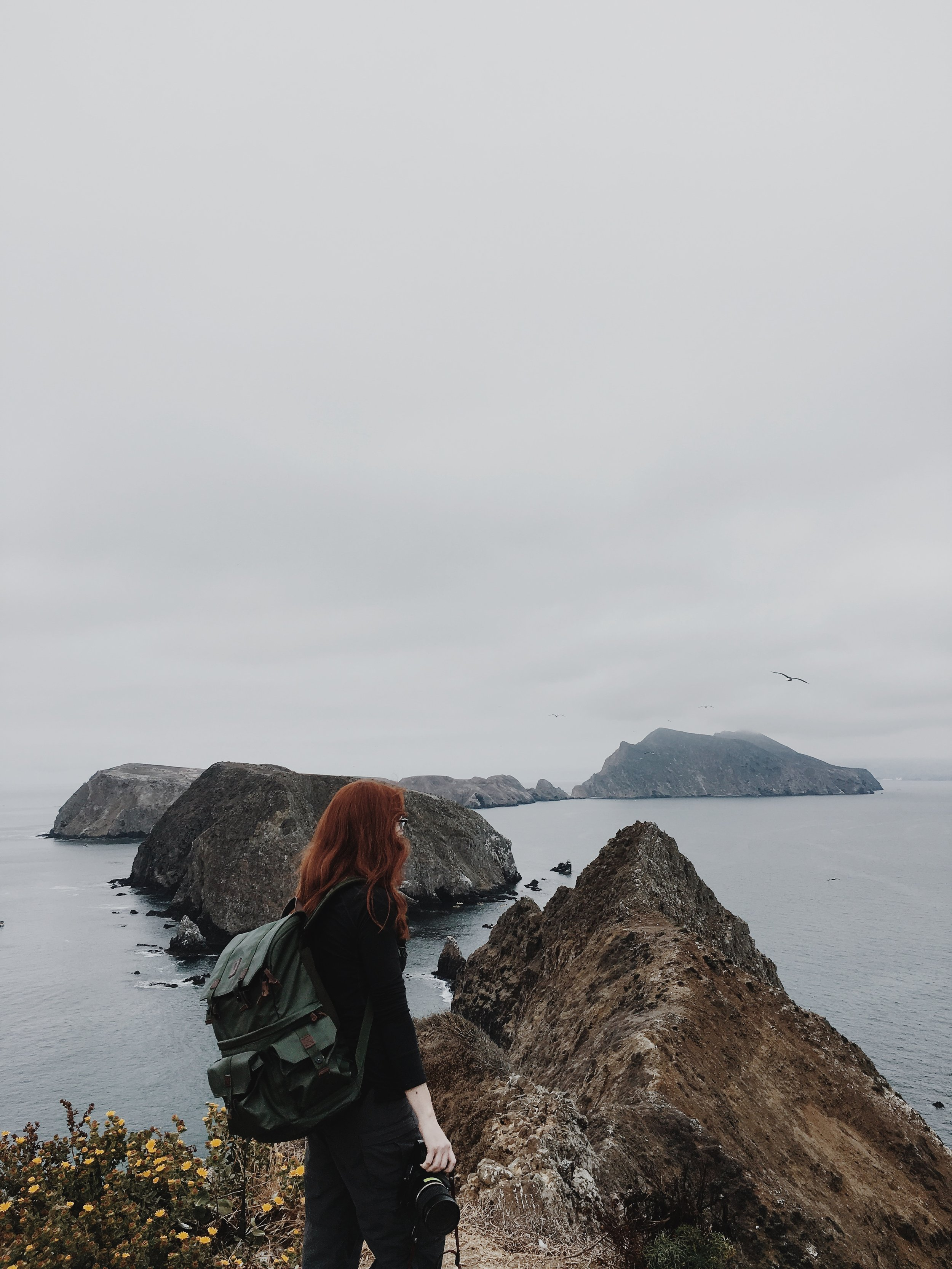 Me at Inspiration Point on Anacapa Island, Channel Islands National Park (photo by Jesse, coloring by me)