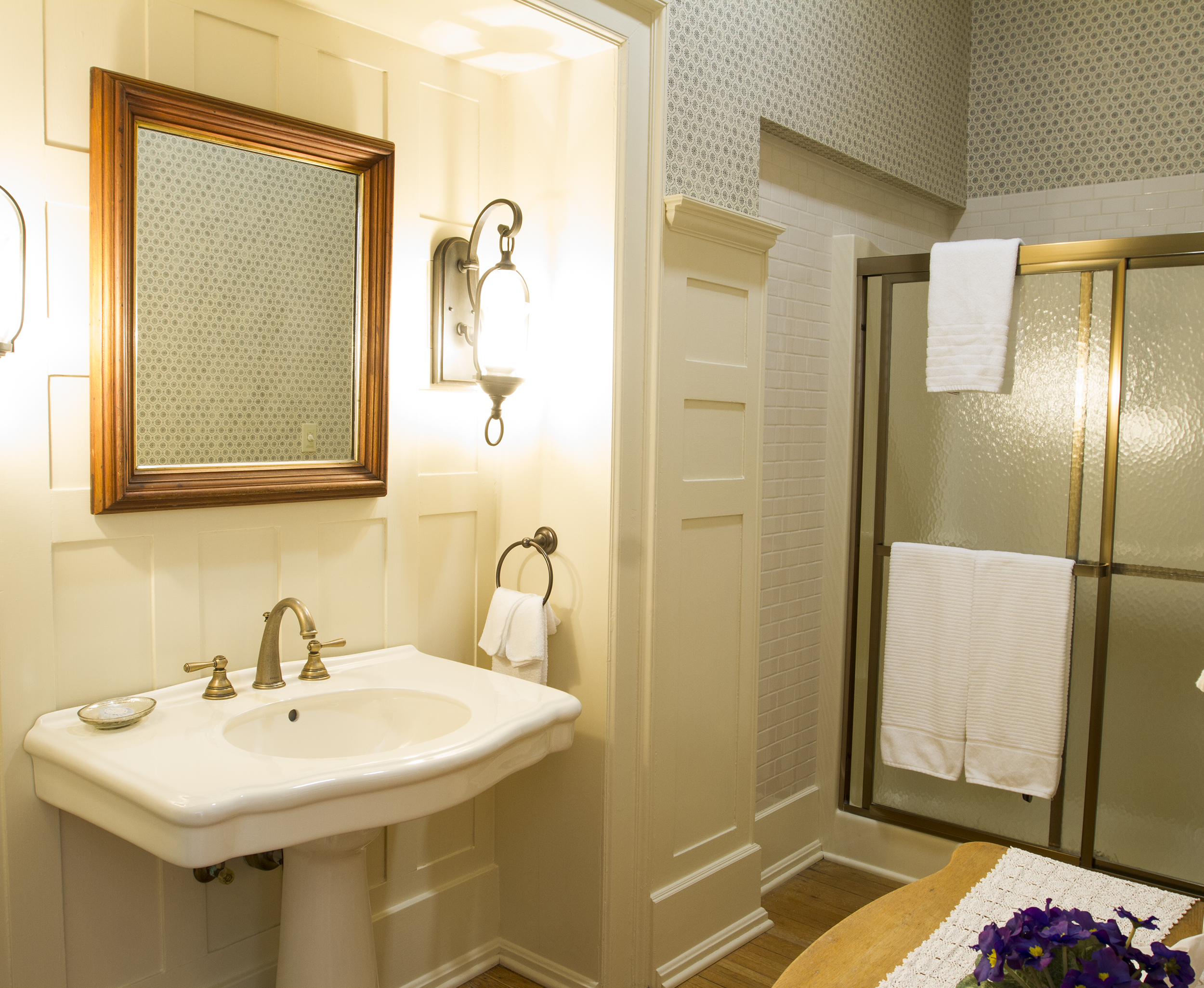 Spacious bathroom with updated fixtures