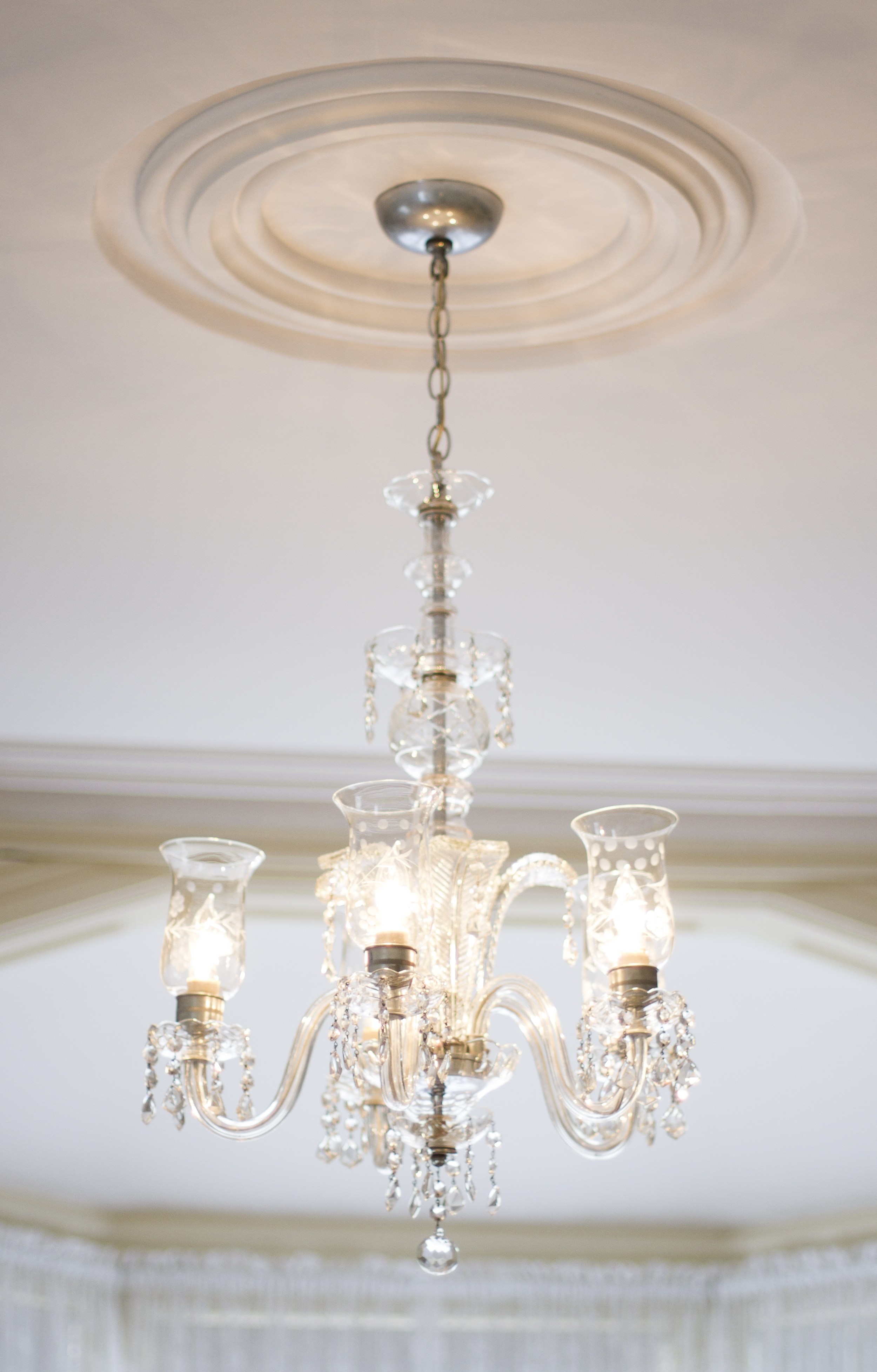 Authentic chandelier and mouldings
