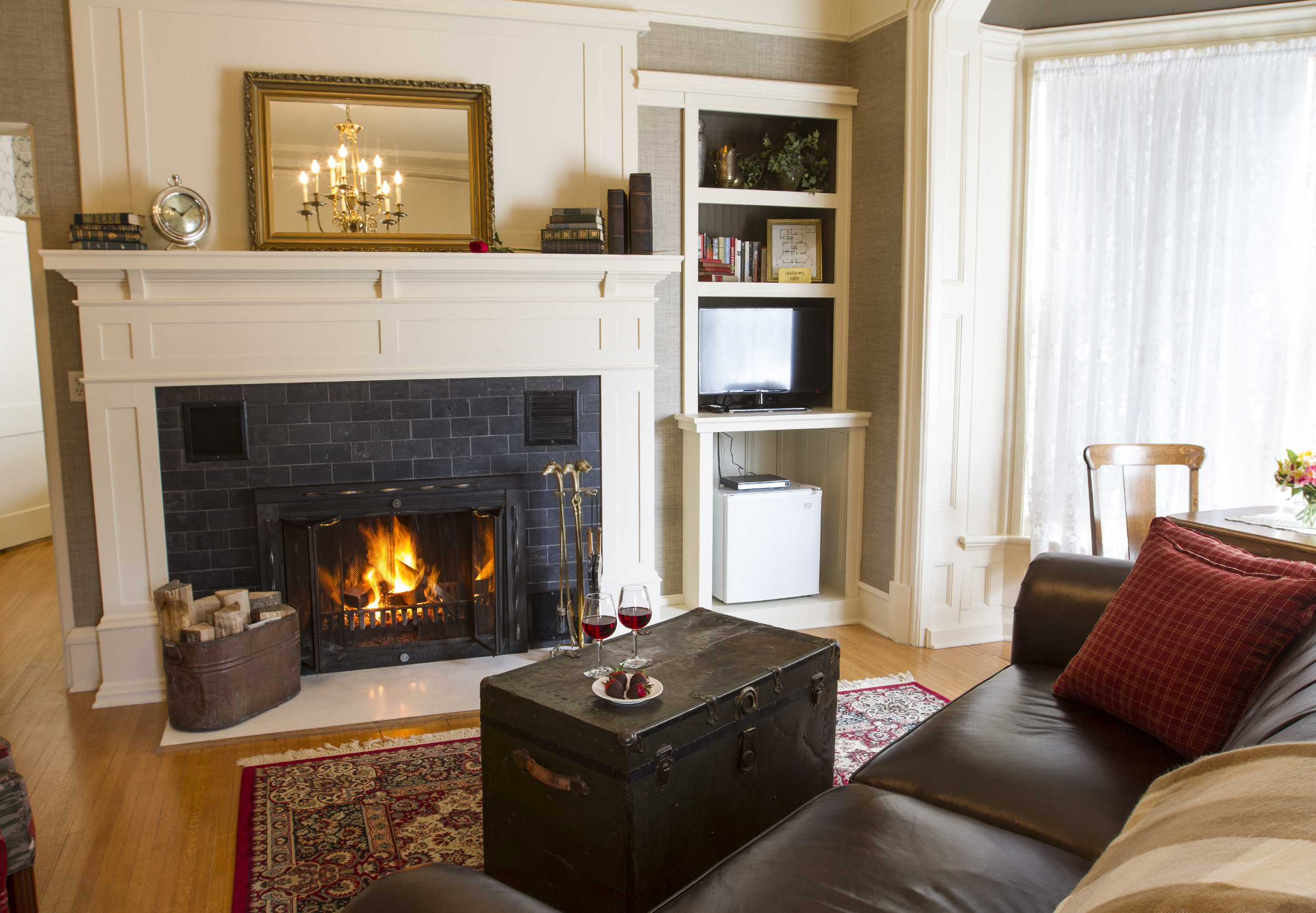 Fireplaces in every suite