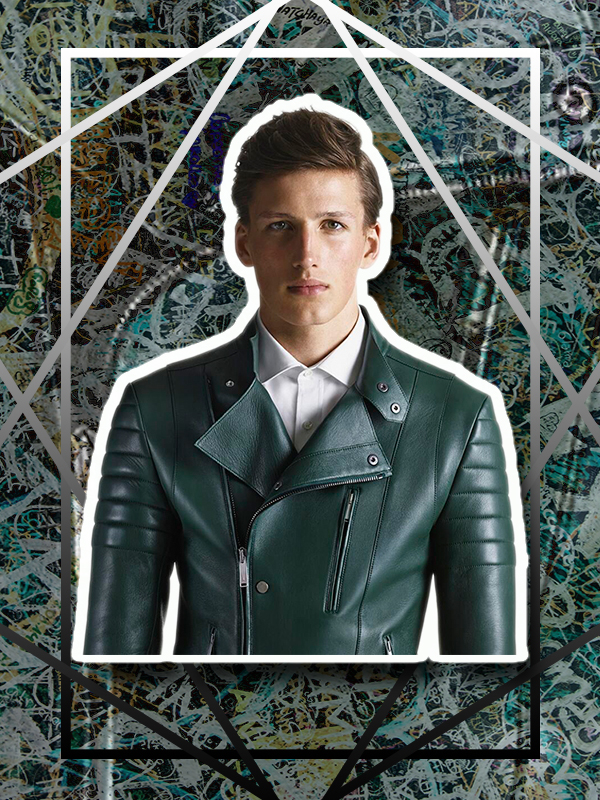 Leather Moto Jacket in Field Green