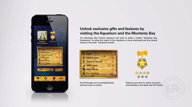 "Detail: User Profile Screen.  Copy: ""The Monterey Bay Pocket Aquarium will work to build a holistic 'Monterey Bay Experience' by tying the magic of the Aquarium to local merchants and the natural beauty of the area. Adventure awaits!"""