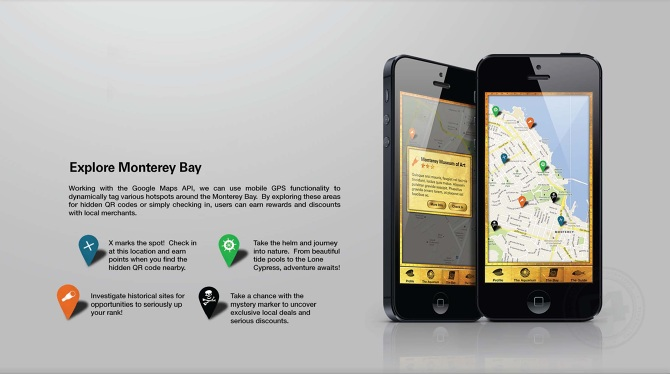 "Detail: The Bay Screen / ""Explore"" Functionality.  Copy: ""Working with the Google Maps API, we can use mobile GPS functionality to dynamically tag various hotspots around the Monterey Bay. By exploring these areas for hidden QR codes or simply checking in, users can earn rewards and discounts with local merchants."""