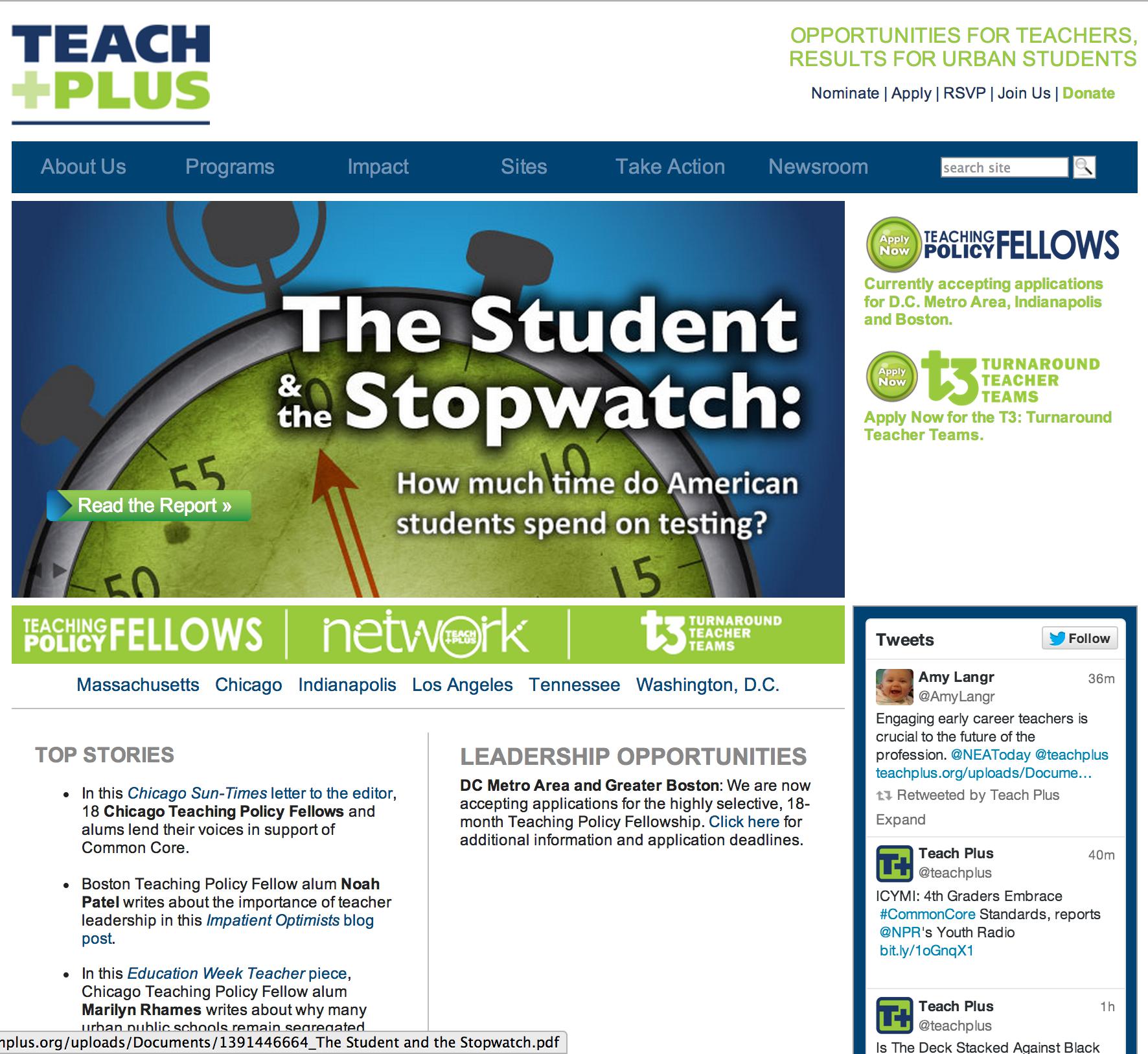 Teach Plus landing page