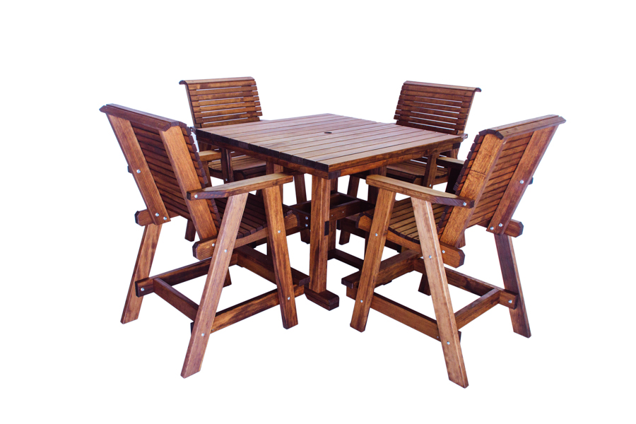 "Square 44x44 Table, Bar Height  43 3/4"" W x 43 3/4"" D x 37 3/4"" H (Shown with Lowback Bar Chairs)"