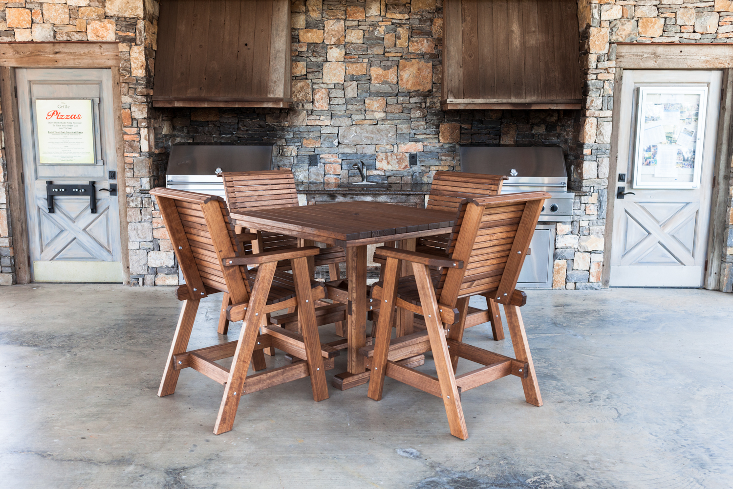 Square 44x44 Bar Table with Lowback Bar Chairs